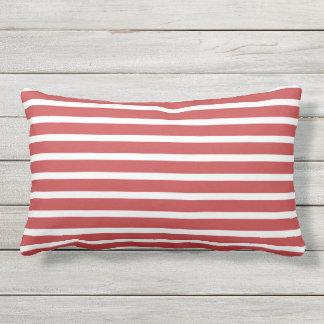 Almofada Para Ambientes Externos Design náutico clássico da listra branca vermelha