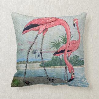Almofada Pintura velha do flamingo tropical cor-de-rosa