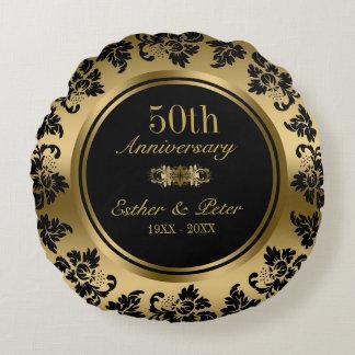 Almofada Redonda Aniversário de casamento elegante do damasco 50th