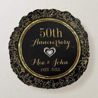 Almofada Redonda Aniversário de casamento elegante do preto & do