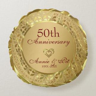 Almofada Redonda Aniversário de casamento Sparkling do ouro 50th