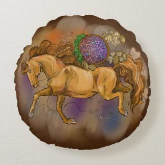 Almofada Redonda Cavalos com Dreamcatchers