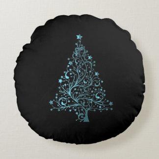 Almofada Redonda Elegante azul do preto estrelado da árvore do
