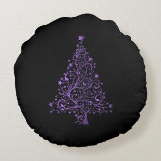 Almofada Redonda Elegante roxo do preto estrelado da árvore do
