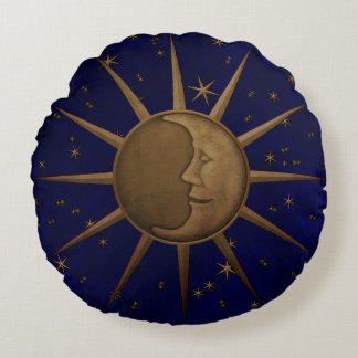 Almofada Redonda Noite estrelado da lua celestial de Sun