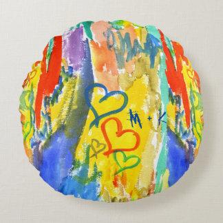 Almofada Redonda Pintura aleatória colorida dos corações abstratos