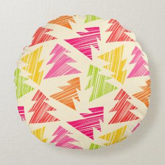 Almofada Redonda Teste padrão esboçado colorido das árvores de