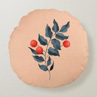 Almofada Redonda Travesseiro botânico redondo do vintage com flor