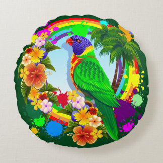 Almofada Redonda Travesseiro decorativo do papagaio de Lorikeet do