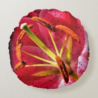 Almofada Redonda Travesseiro decorativo redondo do algodão do lírio