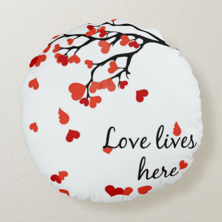 Almofada Redonda travesseiro redondo de queda da árvore do coração