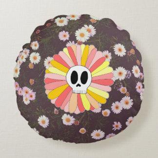 Almofada Redonda Travesseiro redondo floral do crânio do açúcar
