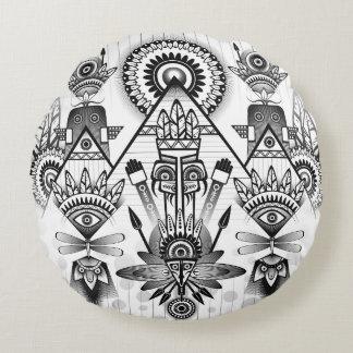 Almofada Redonda Tribal indiano nativo antigo abstrato