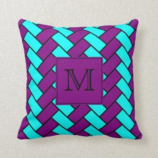 Almofada Roxo do monograma e travesseiro decorativo de