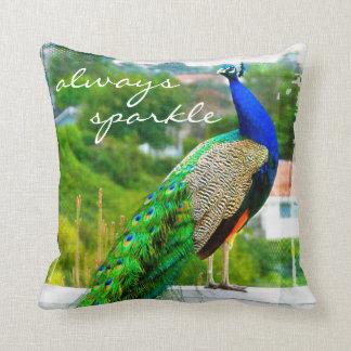 """Almofada """"Sempre foto do pavão do verde azul das citações"""
