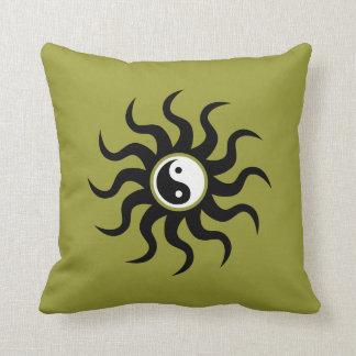 Almofada Sun-Aipo asteca de Yin-Yang verde/Branco-dobro