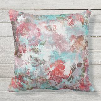 Almofada Teste padrão floral cor-de-rosa chique romântico