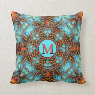 Almofada Travesseiro azul do monograma do pavão da oxidação