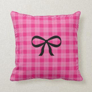 Almofada Travesseiro Checkered do arco do rosa e do preto
