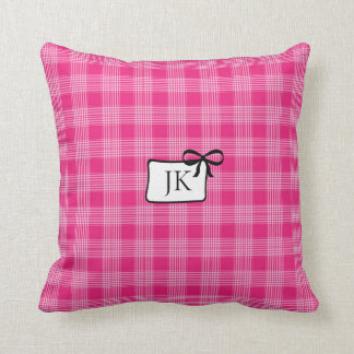 Almofada Travesseiro cor-de-rosa e preto Monogrammed do