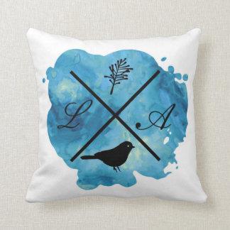 Almofada Travesseiro da aguarela do monograma no azul