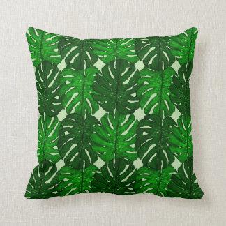 Almofada Travesseiro decorativo verde da folha de Monstera