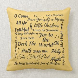 Almofada Travesseiro do Doodle do Natal no Semi-Ouro