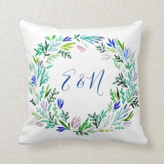 Almofada Travesseiro do monograma da grinalda da lavanda