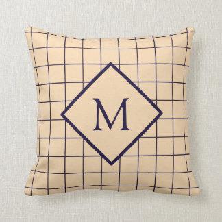 Almofada Travesseiro do monograma do teste padrão da