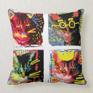 Almofada Travesseiro do pop art do gato de gato malhado