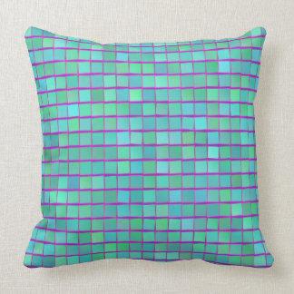 Almofada Travesseiro dos quadrados do verde azul e do roxo