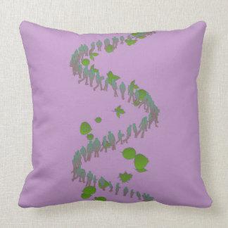 Almofada Travesseiro espiral humano roxo e verde
