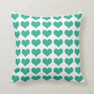 Almofada travesseiro verde do coração do aqua
