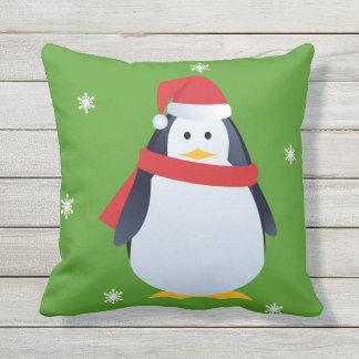 Almofada Travesseiro verde do Natal do pinguim