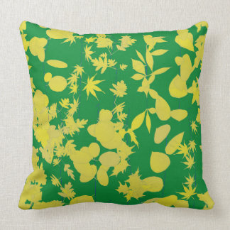 Almofada Travesseiro verde e amarelo das folhas
