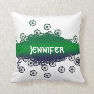 Almofada Travesseiro verde e branco do futebol