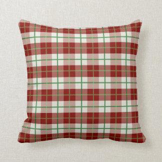 Almofada Travesseiro vermelho, branco, e verde da xadrez