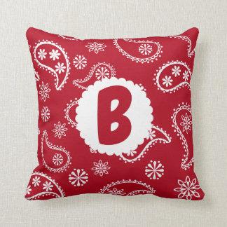 Almofada Travesseiro vermelho do Bandana do monograma