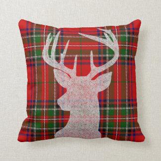 Almofada Travesseiro vermelho e verde do Natal da xadrez