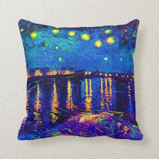 Almofada Van Gogh - noite estrelado sobre o pop art de
