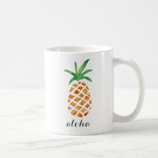 Aloha abacaxi tropical da aguarela caneca de café