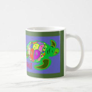 Aloha cor azul da tartaruga de mar de Havaí multi Caneca De Café