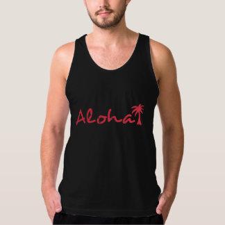 Aloha e palmeira no grunge regatas