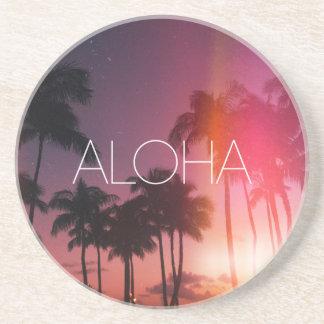 Aloha noite tropical porta copos de arenito