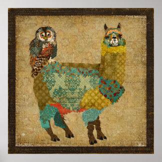 Alpaca do ouro & poster da arte da coruja da