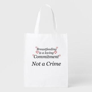 Amamentando não um crime sacolas reusáveis