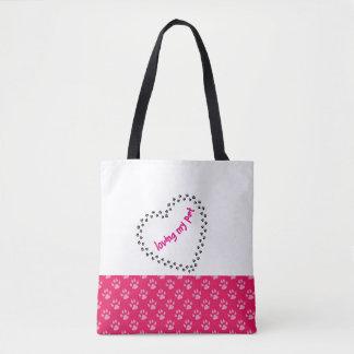 Amando meu saco da pata do rosa do bolsa do animal