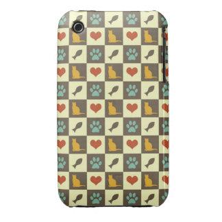 Amante checkered do animal de estimação do teste capa para iPhone 3