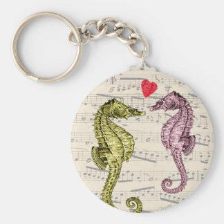 Amantes do cavalo marinho em notas musicais com chaveiro