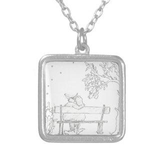 Amantes em um vintage 1953 do esboço do banco colar com pendente quadrado